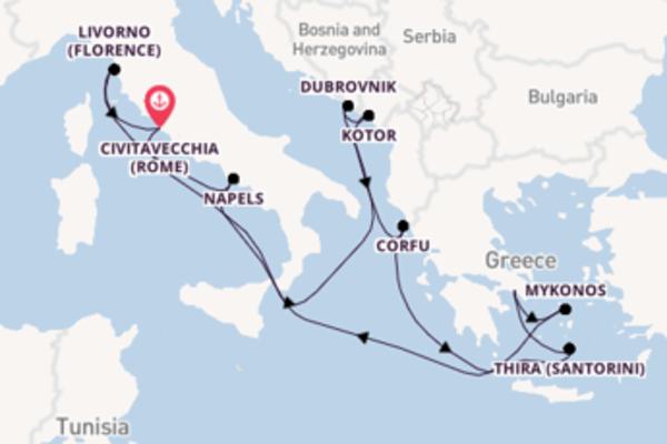 Cruise naar Civitavecchia (Rome) via Corfu