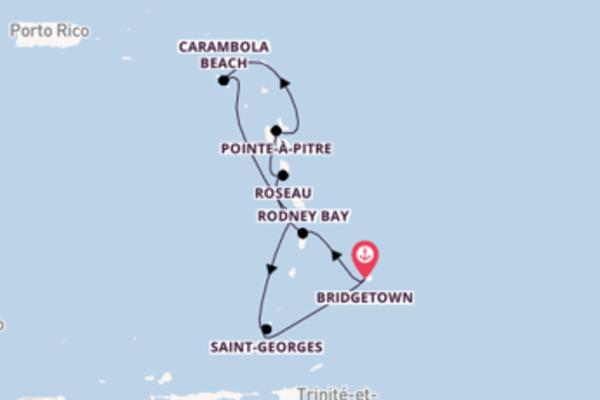 Pointe-à-Pitre, depuis Bridgetown à bord du bateau Seabourn Odyssey