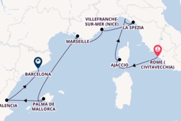 Voyage from Rome (Civitavecchia) to Barcelona via La Spezia