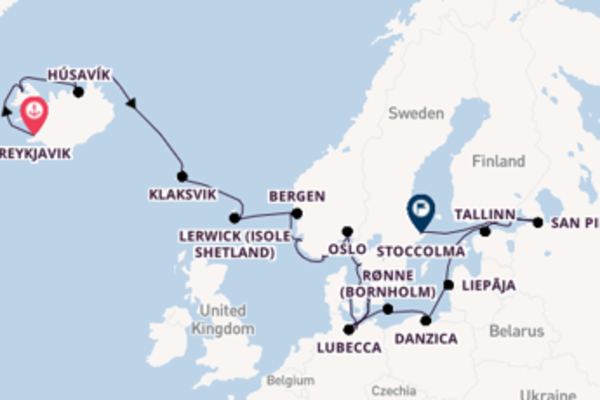Affascinante crociera di 23 giorni passando per San Pietroburgo