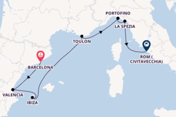 Erkunden Sie Barcelona, Valencia und Rom (Civitavecchia)